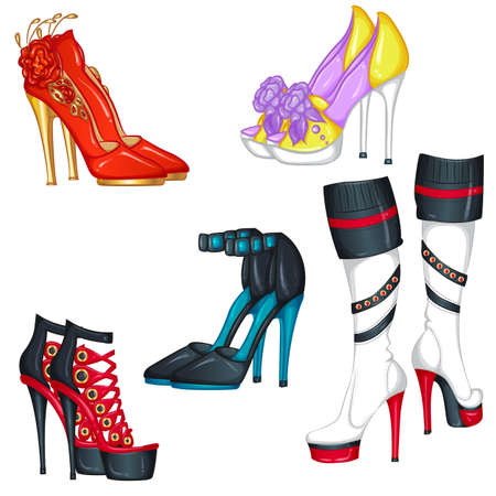 Set of fashion accessories with high-heeled shoes, sandals and boots. Vector illustration isolated on white background 向量圖像