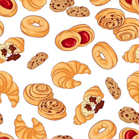 Vector seamless pattern with various pastries. Illustration isolated on white background. Hand drawn pattern Illustration