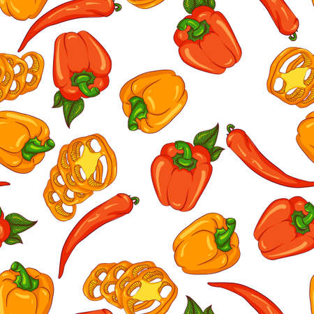 Vector seamless pattern with paprika and chili pepper. Illustration isolated on white background. Hand drawn pattern
