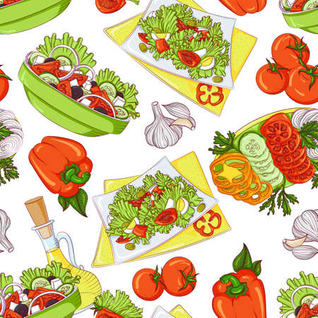 Vector seamless pattern with various vegetable salads. Illustration isolated on white background. Hand drawn pattern