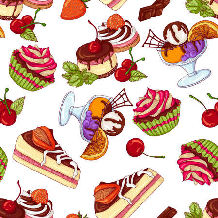 Vector seamless pattern with various sweets and desserts. Illustration isolated on white background. Hand drawn pattern