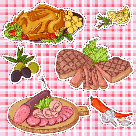 Vector illustration set of stickers with various meat products on a plaid background. Hand drawn icons for design