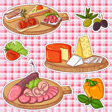 Appetizers stickers Stock Photo