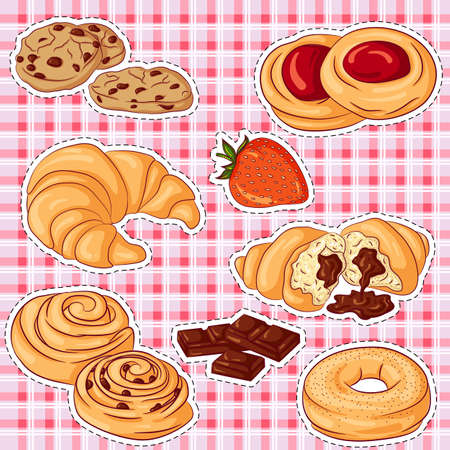Pastries stickers Imagens