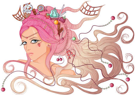 Girl with hairdress of sweets