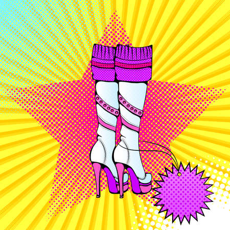 Vector bright colored background in Pop Art style. Illustration with female high boots on a platform. Retro comic style