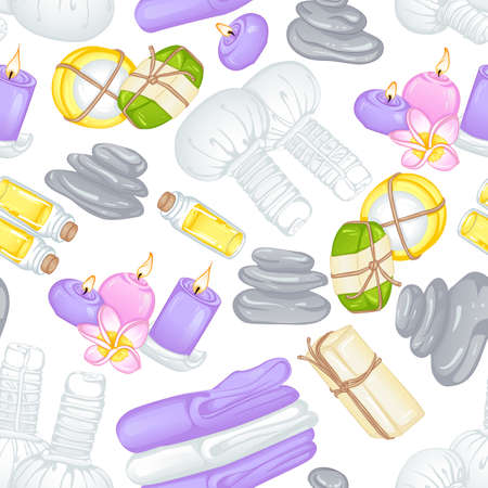 Seamless pattern with accessories for spa