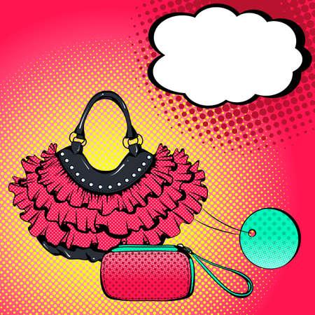 Fondo colorato luminoso di vettore nello stile di arte di schiocco. Illustrazione con borse da donna e nuvoletta. Stile fumetto retrò Vettoriali