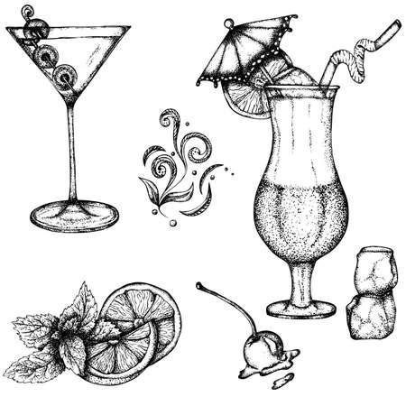 Set mit alkoholischen Getränken: Martinis und exotische Cocktails, die mit einem Regenschirm verziert sind. Gezeichnete Illustration des Vektors Hand. Monochrome Zeichnung auf weißem Hintergrund