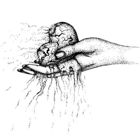 A scorched, crumbling heart in a woman's hand. Vector hand drawn illustration. Monochrome drawing isolated on white background Foto de archivo - 126367894