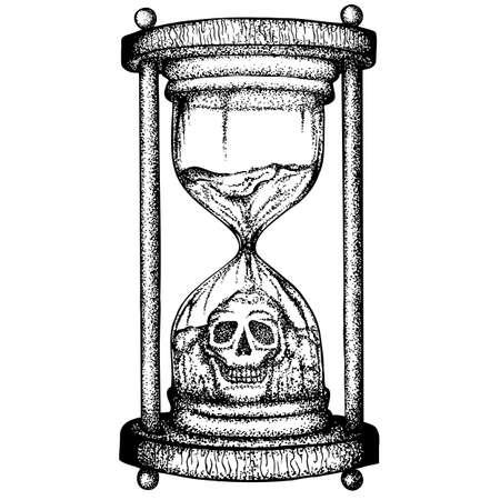 Sanduhr mit der Figur eines Totenschädels aus bröckelndem Sand. Gezeichnete Illustration des Vektors Hand. Monochrome Zeichnung auf weißem Hintergrund