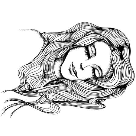 Portrait of a sleeping girl with long hair. Vector hand drawn illustration. Monochrome drawing isolated on white background Foto de archivo - 126367896