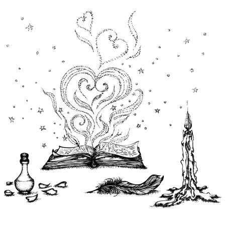 Still life with a magic book, a candle and a potion. Vector hand drawn illustration. Monochrome drawing isolated on white background Foto de archivo - 126367901