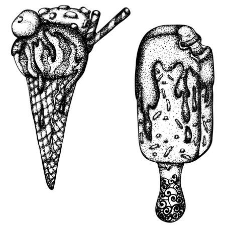 Set of ice cream in a waffle cone and ice cream on a stick. Vector hand drawn illustration. Monochrome drawing isolated on white background Stock Illustratie