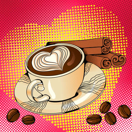 Vector bright colored background in Pop Art style. Illustration with a cup of coffee and cinnamon sticks. Retro comic style Foto de archivo - 125711680