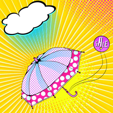 Vector bright colored background in Pop Art style. Illustration with polka dot fabric umbrella. Retro comic style Foto de archivo - 125711682