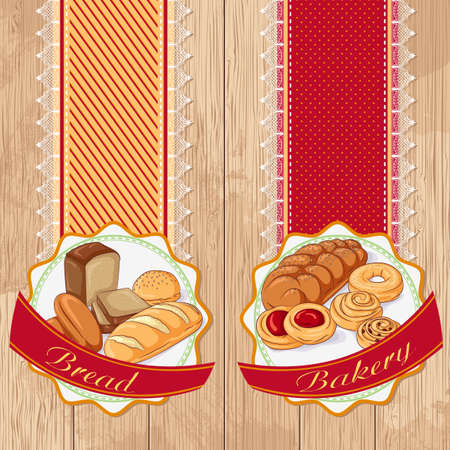 Vector illustration set of labels with bread and pastries on a wooden background. Design in retro style for restaurants, cafes, cookbooks