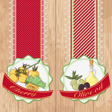 Vector illustration set of labels with cherry tomatoes and olive oil on a wooden background. Design in retro style for restaurants, cafes, cookbooks