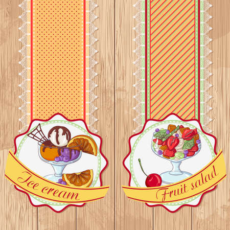 Vector illustration set of labels with ice cream and fruit salad on a wooden background. Design in retro style for restaurants, cafes, cookbooks Foto de archivo - 125276006