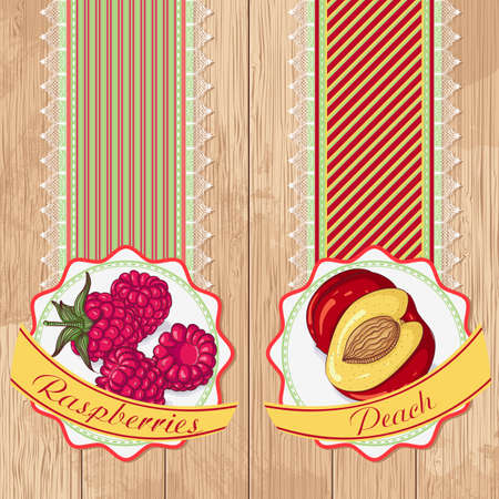 Vector illustration set of labels with raspberries and peaches on a wooden background. Design in retro style for restaurants, cafes, cookbooks Foto de archivo - 125276008