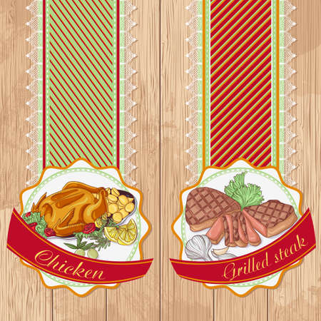 Vector illustration set of labels with baked chicken and grilled steak on a wooden background. Design in retro style for restaurants, cafes, cookbooks