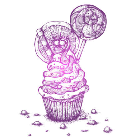 Hand drawn ink vector illustration. Still life of cupcakes with orange and lollipop. Drawing isolated on white background Foto de archivo - 122457725