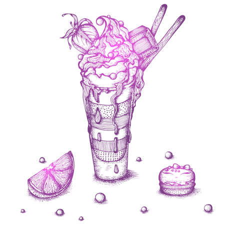 Hand drawn ink vector illustration. Still life with a dessert of ice cream in a glass and macaroon cookies. Drawing isolated on white background