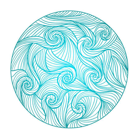 Vector illustration in line art style. Abstract round sea wave mandala with curls, swirls.Hand drawn ink pattern