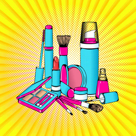 Vector bright colored background in Pop Art style. Illustration with decorative cosmetics. Retro comic style