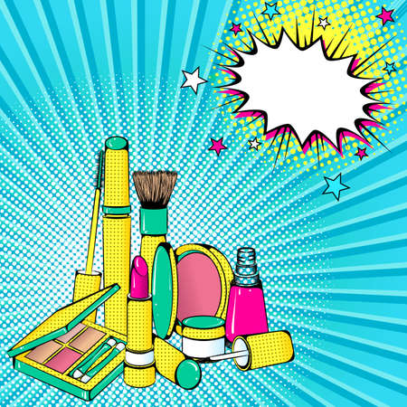 Vector bright colored background in Pop Art style. Illustration with decorative cosmetics and speech bubble. Retro comic style Illustration