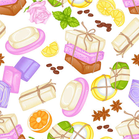 Vector seamless pattern with various types of soap and handmade soap. Illustration isolated on white background