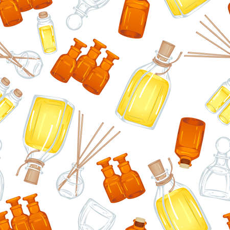 Vector seamless pattern with various types of vials and bottles for aromatic oil. Illustration isolated on white background
