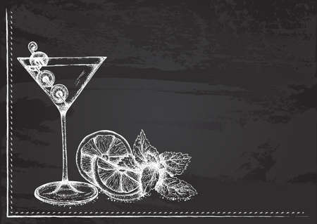 Vector template with cocktail with martini stylized as chalk drawing on chalkboard.Design for a restaurant, cafe or bar