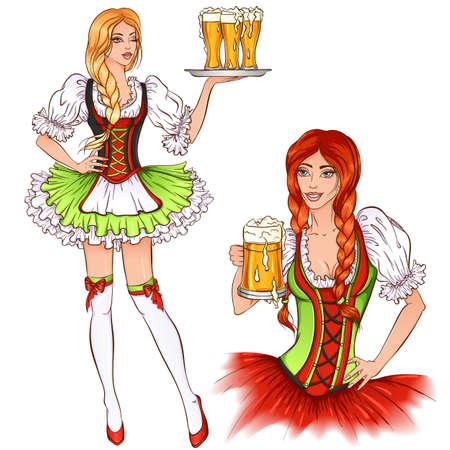 Oktoberfest girl illustration Ilustracja