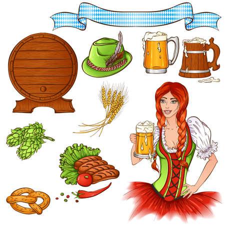 Elements of Oktoberfest illustration