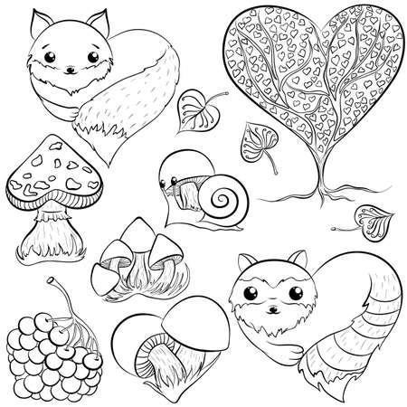 Forest heart icon set.