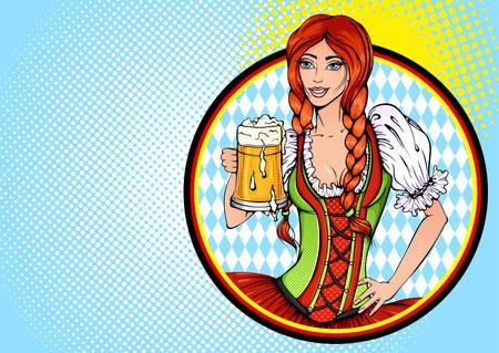 Oktoberfest girl pop art illustration Ilustracja