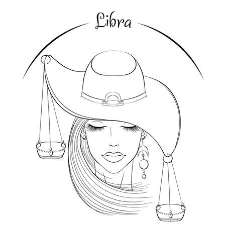 Libra as a girl in hat illustration