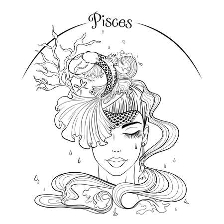 Pisces as a girl in hat illustration