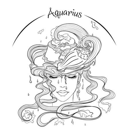 Aquarius as a girl in hat illustration