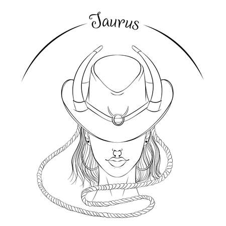 Taurus as a girl in hat illustration