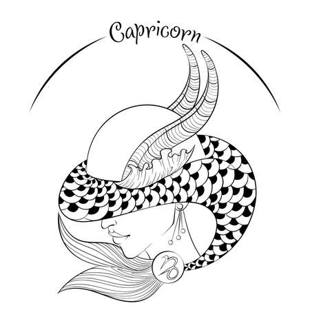 Capricorn as a girl in hat illustration