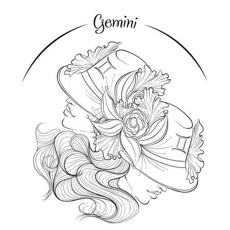 Gemini as a girl in hat illustration