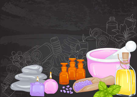 Still life with accessories for aromatherapy, spa salon on a chalk board with a sketch. Aroma oil, aromatic salt and mortar, candles. Hand drawn vector illustration. Poster template design for spa Stock Illustratie