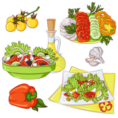 Salads set. Vector illustration isolated on a white background. Set of greek salad, fresh salad, vegetable slices. Design for stickers, icons, menus, cookbooks.