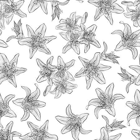 Floral seamless pattern. Vector line art illustration with lilies flowers. Hand drawn pattern isolated on white background. Stock Illustratie