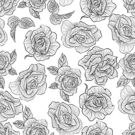 Floral seamless pattern. Vector line art illustration with roses flowers. Hand drawn pattern isolated on white background. Stock Illustratie