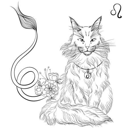 Leo cat zodiac line art