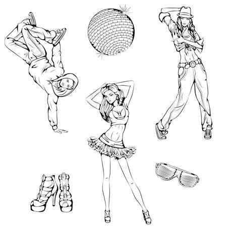 Modern dance set 向量圖像