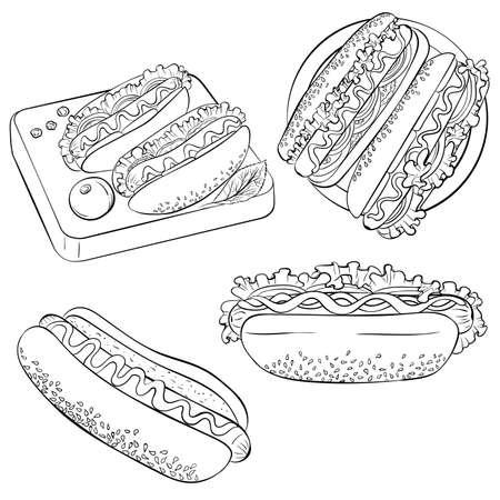 Hot dog line art